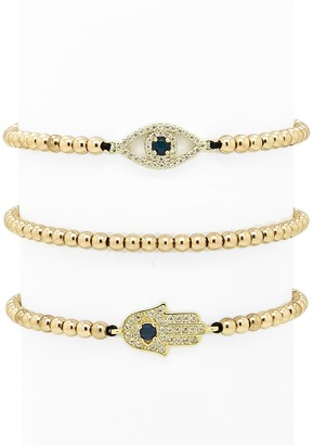 Eye Candy La Luxe 3-Piece Crystal Hamsa Evil-Eye Beaded Bracelet Set
