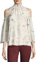 Rachel Zoe Callahan Cold-Shoulder Floral-Printed Chiffon Blouse