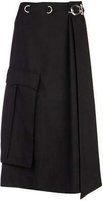Prada Buckled A-Line Midi Skirt