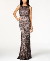 Night Way Nightway Open-Back Sequined Lace Gown