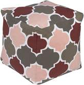 Surya PHPF009-181818 100-Percent Cotton Pouf, 18-Inch by 18-Inch by 18-Inch, Charcoal/Pastel Pink/Cherry/Taupe/Ivory