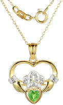 JCPenney FINE JEWELRY Heart-Shaped Genuine Peridot and Diamond-Accent Claddagh Pendant Necklace