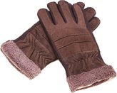 DREAMY Men's Outdoor Pigskin Suede Leather Soft & Warm Fleece Cycling Gloves