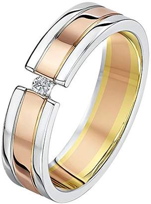 Theia His & Hers 14ct Rose and White Gold Two-Tone 5mm Diamond Wedding Ring - Size L