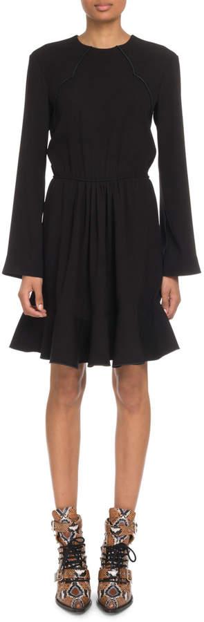 7bf6286a Crewneck Long-Sleeve Tie-Waist Crepe Mini Dress