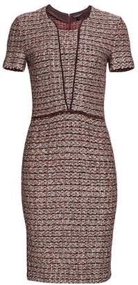 St. John Piped Trim Tweed Sheath Dress