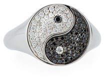 Sydney Evan Yin Yang Ring with Black & White Diamonds, Size 6.5