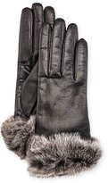 Gala Gloves Leather Fur-Trim Gloves, Black