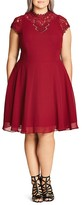 City Chic Lace Trim Fit and Flare Dress