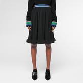 Paul Smith Women's Black Micro-Pleat Skirt With Striped Waistband