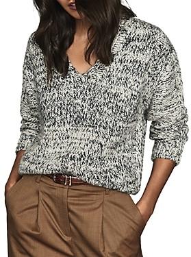 Reiss Flo Textured Weave V-Neck Sweater