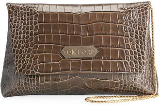 Tom Ford Label Medium Embossed Leather Shoulder Bag