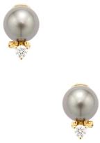 18K Yellow Gold, Tahitian Pearl & 0.50 Total Ct. Diamond Earrings