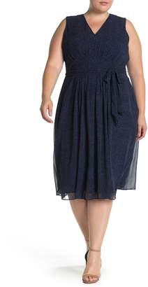 Anne Klein Robin's Egg Dot Print Midi Dress (Plus Size)