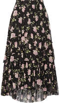 Ulla Johnson Begonia Ruffled Floral-print Silk-crepon Midi Skirt - Black