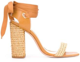 Schutz Woven Tie Around Sandals