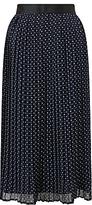 John Lewis Eila Pleated Spot Skirt, Navy