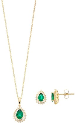 14k Gold Over Silver Lab-Created Emerald & Lab-Created White Sapphire Teardrop Pendant & Earring Set