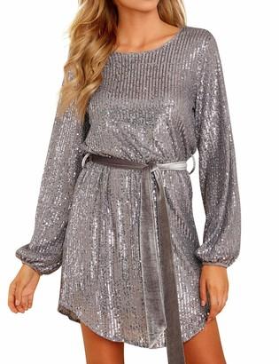 YNALIY Women Sequin Dress Party Long Sleeve Tie Waist Sparkly Glitter Mini Dress for Club Cocktail Grey