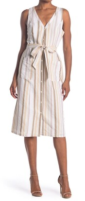 Adelyn Rae Linen Cotton Blend Button Front Dress