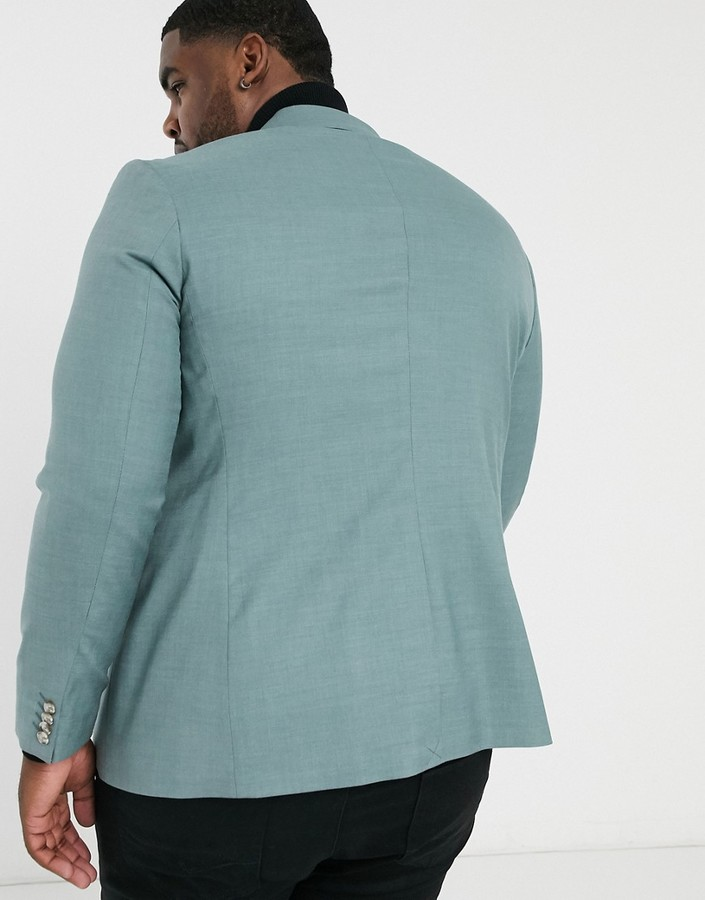 Thumbnail for your product : Topman Big & Tall skinny suit jacket In sage
