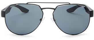 Prada Male Linea Rossa Polarized Brow Bar Aviator Sunglasses, 59mm