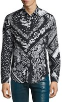 Just Cavalli Bandana-Print Sport Shirt, Black/White