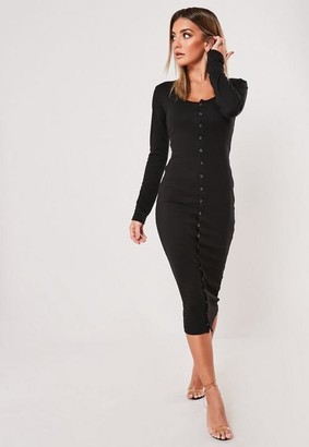 Missguided Tall Black Long Sleeved Popper Midi Dress