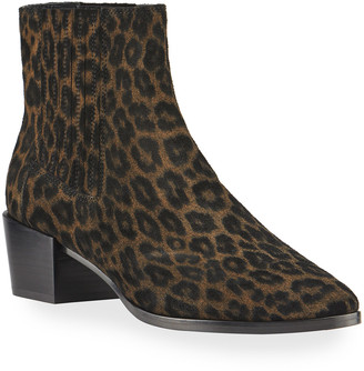 Rag & Bone Rover Leopard-Print Suede Chelsea Booties