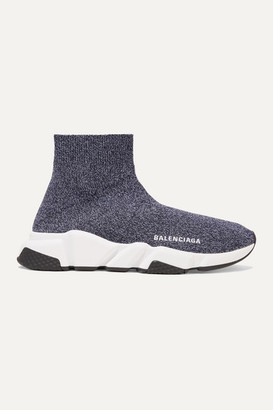 Balenciaga Speed Stretch-knit High-top Sneakers - Gray