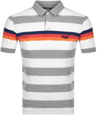Superdry Striped Polo T Shirt Grey