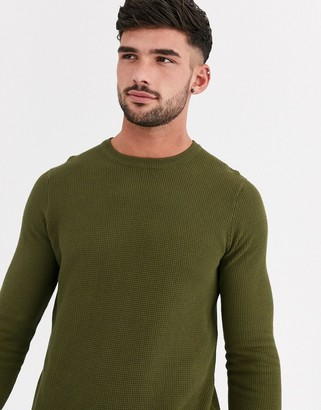 New Look waffle crew neck jumper in green