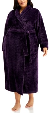 Charter Club Plus Size Long Zig-Zag Cozy Robe, Created for Macy's