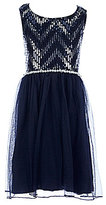 Xtraordinary Big Girls 7-16 Sequin-Chevron-Bodice Tulle-Skirt Dress