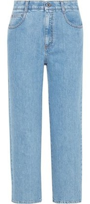 Stella McCartney Cropped Lace-up High-rise Straight-leg Jeans