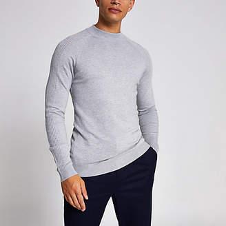River Island Grey slim fit turtle neck knitted jumper
