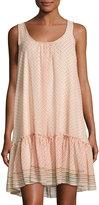 Max Studio Printed-Georgette Tank Dress, White Pattern