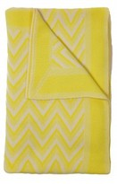 The Well Appointed House 100% Cashmere Modern Herringbone Design Throw in Yellow