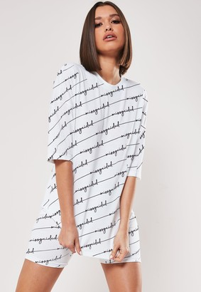 Missguided Tall White Co Ord All Over Print T Shirt