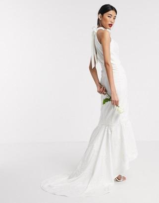 Chi Chi London Chi Chi Bridal Adia maxi dress in white