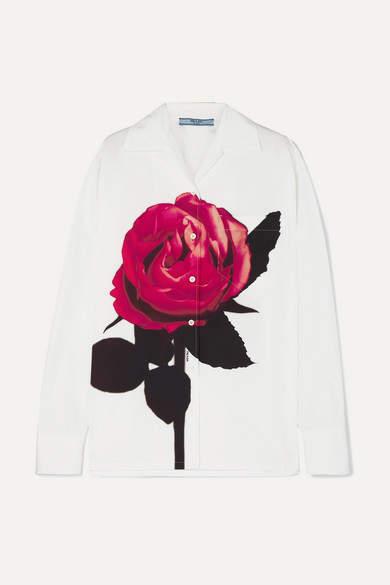 Prada Oversized Floral-print Cotton-poplin Shirt - White