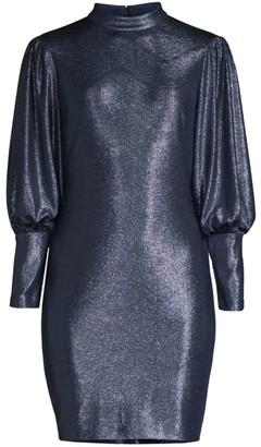 Aidan Mattox Mockneck Long-Sleeve Dress