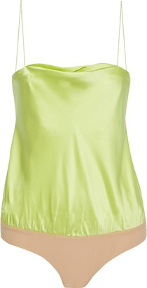 Alix Dean Silk-charmeuse And Stretch-jersey Thong Bodysuit