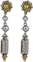 Konstantino Asteri Etched Freshwater Pearl & Diamond Dangle Earrings
