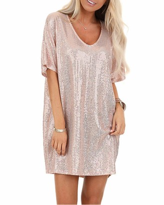 YOINS Women Sparkly Sequin Mini Dresses Batwing Sleeve Round Neck Sexy Glitter Party Dresses Casual Blouse Clubwear Pink XL
