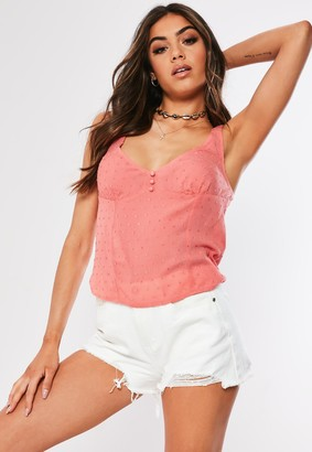 Missguided Pink Dobby Button Front Top