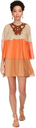 Alberta Ferretti Sheer Silk Chiffon Mini Dress