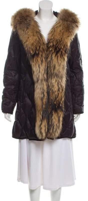 b7a2daa64 Fur-Trimmed Down Coat Navy Fur-Trimmed Down Coat