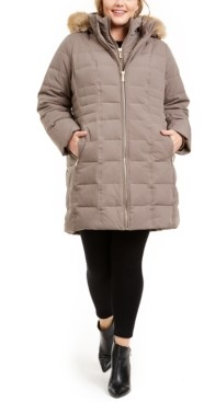 Michael Kors Michael Plus Size Faux-Fur-Trim Hooded Down Puffer Coat, Created for Macy's