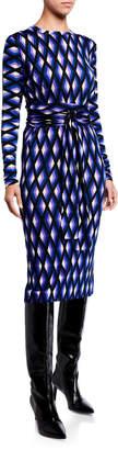 Diane von Furstenberg Gabel Printed Wool Belted Dress
